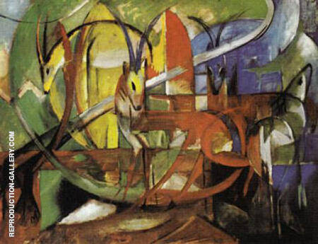 Gazelles 1913 By Franz Marc