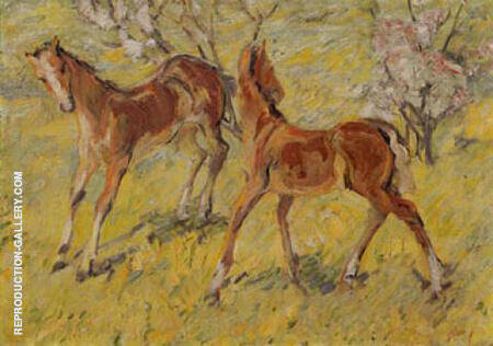Foals at Pasture 1909 By Franz Marc - Oil Paintings & Art Reproductions - Reproduction Gallery