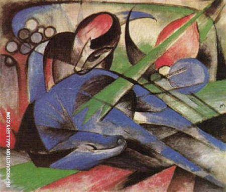 Dreaming Horse 1913 By Franz Marc - Oil Paintings & Art Reproductions - Reproduction Gallery