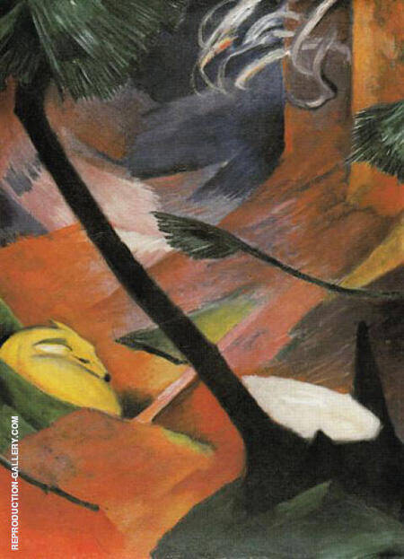 Deer in the Woods II 1912 By Franz Marc - Oil Paintings & Art Reproductions - Reproduction Gallery