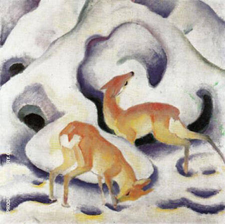 Deer in the Snow 1911 By Franz Marc - Oil Paintings & Art Reproductions - Reproduction Gallery