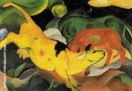 Cows Yellow Red Green 1912 By Franz Marc - Oil Paintings & Art Reproductions - Reproduction Gallery