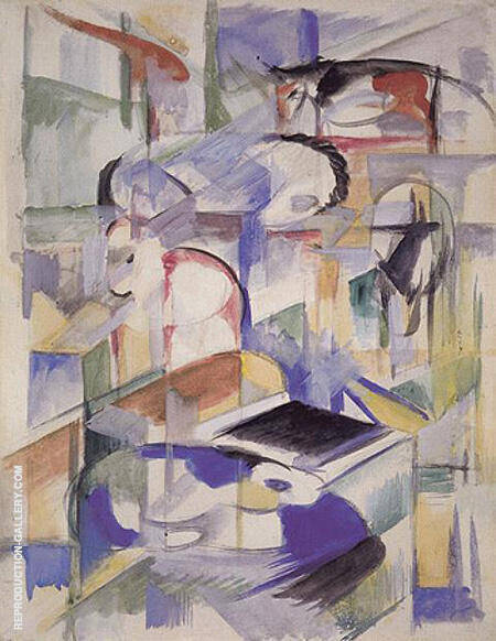 Composition with Animal 1913 By Franz Marc - Oil Paintings & Art Reproductions - Reproduction Gallery