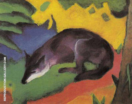 Blue Black Fox 1911 By Franz Marc - Oil Paintings & Art Reproductions - Reproduction Gallery
