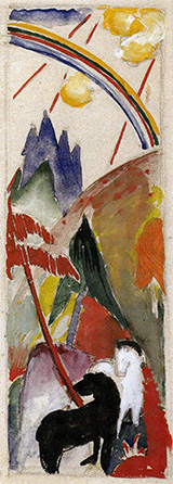 Black Horse and White Horse in a Mountain Landscape with a Rainbow 1911 By Franz Marc