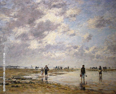 Figures on the Beach 1886 By Eugene Boudin - Oil Paintings & Art Reproductions - Reproduction Gallery