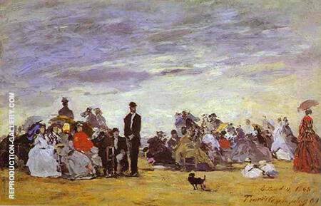 Beach at Trouville 1864 By Eugene Boudin - Oil Paintings & Art Reproductions - Reproduction Gallery