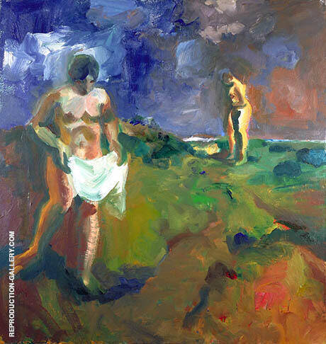 Two Bathers 1960 By Elmer Bischoff - Oil Paintings & Art Reproductions - Reproduction Gallery