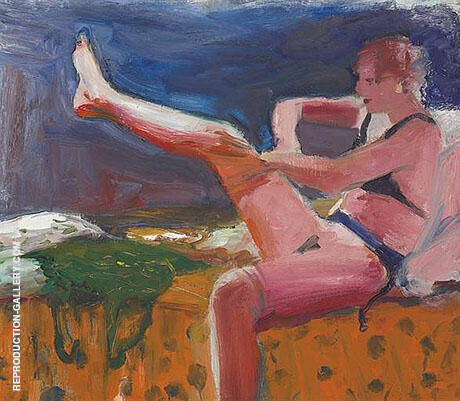 Woman Pulling on Stocking Painting By Elmer Bischoff