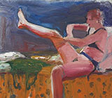 Woman Pulling on Stocking By Elmer Bischoff