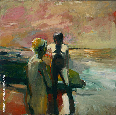 Two Figures at the Seashore By Elmer Bischoff - Oil Paintings & Art Reproductions - Reproduction Gallery