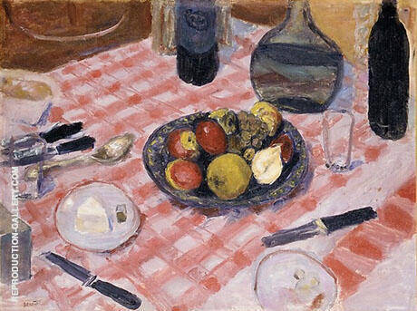 Checkered Tablecloth 1916 Painting By Pierre Bonnard