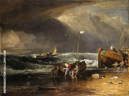 A Coast Scene of Fisherman Hauling a Boat Ashore By Joseph Mallord William Turner