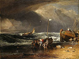 A Coast Scene of Fisherman Hauling a Boat Ashore By Joseph Mallord William Turner