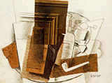 Glass Pipe and Newspaper By Georges Braque