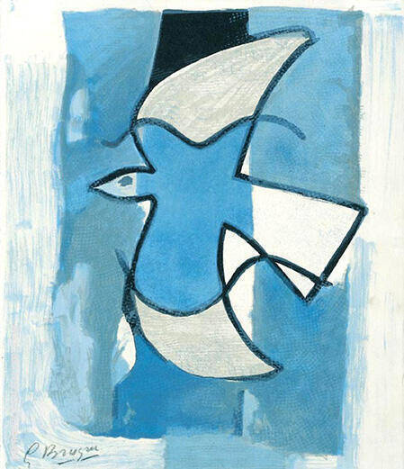 L'Oiseaux Bleu et Gris By Georges Braque - Oil Paintings & Art Reproductions - Reproduction Gallery