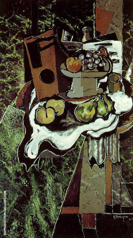 Fruit on the Table cloth with a Fruit Dish 1925 By Georges Braque