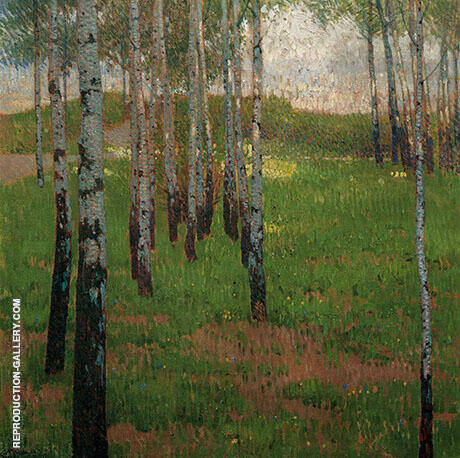 Birch Grove at Dusk Painting By Carl Moll - Reproduction Gallery