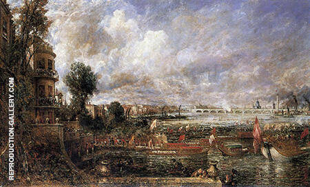The Opening of Waterloo Bridge seen from Whitehall Stairs By John Constable - Oil Paintings & Art Reproductions - Reproduction Gallery