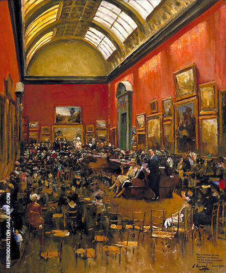 King George V, Accompanied by Queen Mary, at the Opening of the Modern Foreign and Sargent Galleries at the Tate Gallery 1926 By John Lavery - Oil Paintings & Art Reproductions - Reproduction Gallery