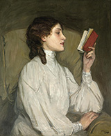 Miss Auras The Red Book 1892 By John Lavery