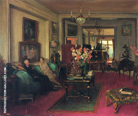 A Salon Lady Cunard and John Moore By John Lavery