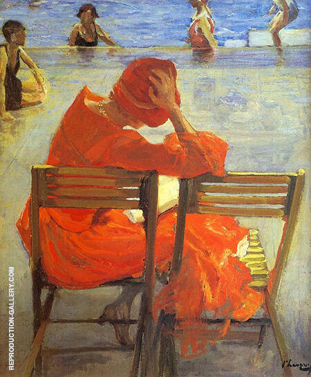 Girl In A Red Dress Reading Painting By John Lavery - Reproduction Gallery