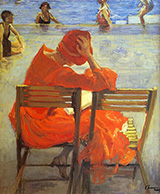 Girl In A Red Dress Reading By John Lavery
