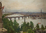 The River Pageant as Seen from the Home of Sir James Barries Adelphi Terrace London 1919 By John Lavery