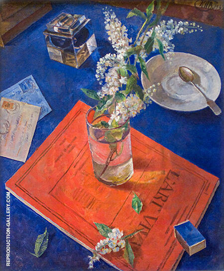 Bird Cherry in Glass 1932 Painting By Kuzma Petrov-Vodkin