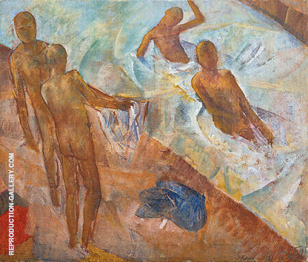 Bathing Boys 1921 Painting By Kuzma Petrov-Vodkin - Reproduction Gallery