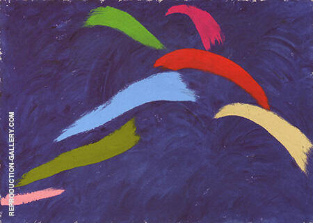 Leap On Blue 1976 By Jack Bush - Oil Paintings & Art Reproductions - Reproduction Gallery