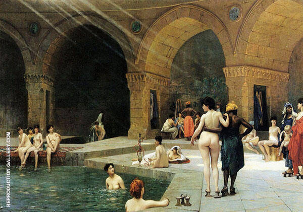 The Grand Bath at Bursa 1885 Painting By Jean Leon Gerome