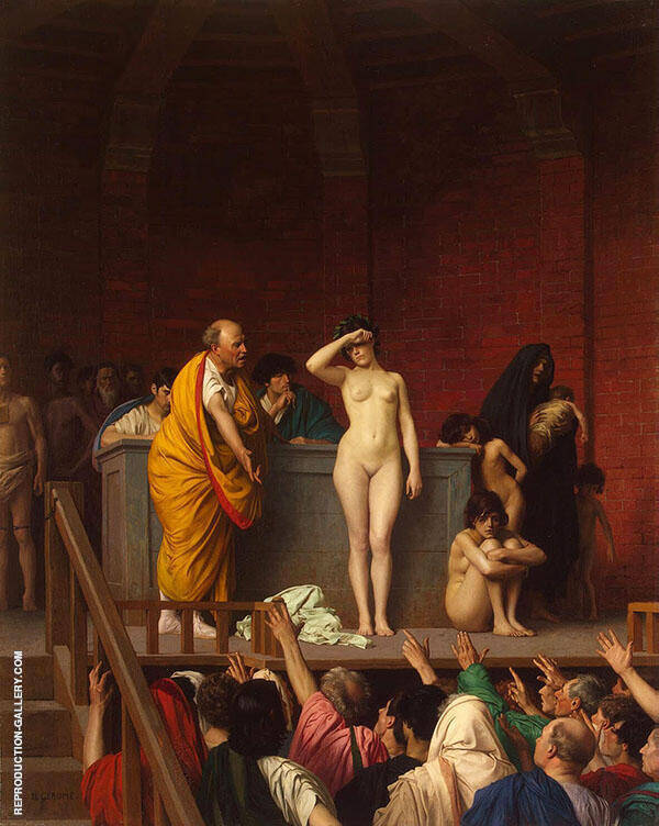 Slave Market in Rome Painting By Jean Leon Gerome - Reproduction Gallery