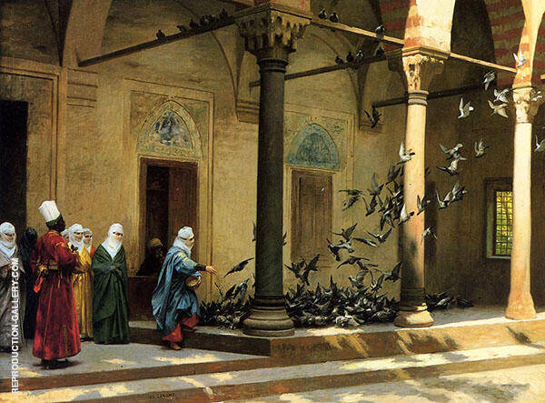 Harem Women Feeding Pigeons in a Courtyard 1894 Painting By ...