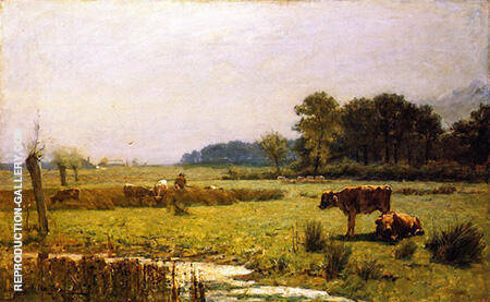 A Surrey Meadow Morning By Arthur Walton