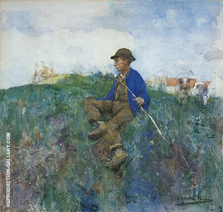 Reproduction of A Herd Boy 1886 by Arthur Walton | Oil Painting Replica On CanvasReproduction Gallery