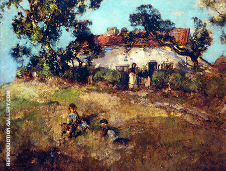 Children Playing Near a Cottage By Arthur Walton - Oil Paintings & Art Reproductions - Reproduction Gallery