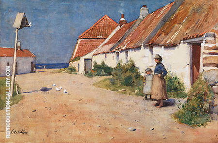 Seaside Cottages with Dovecote c1883 By Arthur Walton - Oil Paintings & Art Reproductions - Reproduction Gallery
