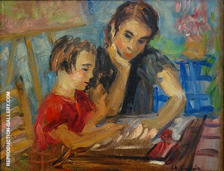 La Lecon de lecture 1938 By Charles Camoin - Oil Paintings & Art Reproductions - Reproduction Gallery