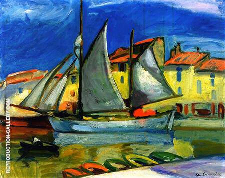 Sail Boat in Port Cassis By Charles Camoin - Oil Paintings & Art Reproductions - Reproduction Gallery