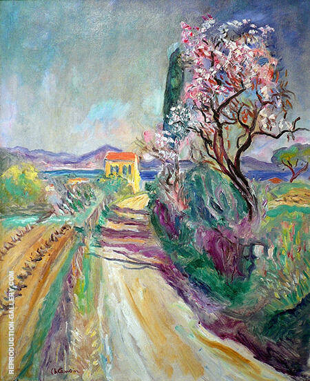 The Road to the Pinet Almond Bloomed Painting By Charles Camoin