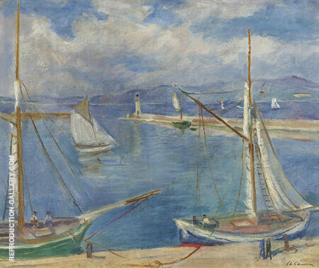 White Sailing Boats at Port St Tropez 1925 Painting By Charles Camoin