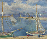 White Sailing Boats at Port St Tropez 1925 By Charles Camoin