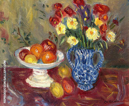 Still Life Vase Fruit and Flowers By Charles Camoin
