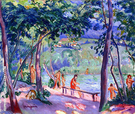The Beach at Colombier c1918 By Henri Manguin