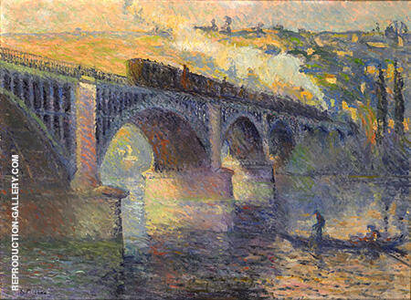 Le Pont aux Anglais Soleil Couchant 1905 By Robert Antoine Pinchon - Oil Paintings & Art Reproductions - Reproduction Gallery