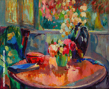 Vases of Flowers on the Table By Robert Antoine Pinchon