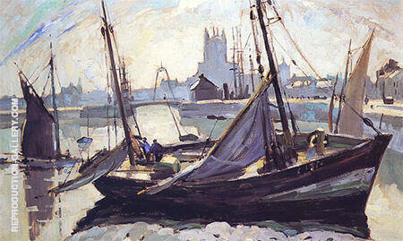 Boats Fecamp 1930 By Robert Antoine Pinchon - Oil Paintings & Art Reproductions - Reproduction Gallery