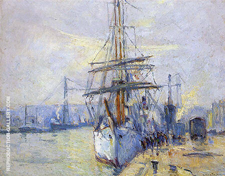 The Harbor of Rouen 1935 Painting By Robert Antoine Pinchon